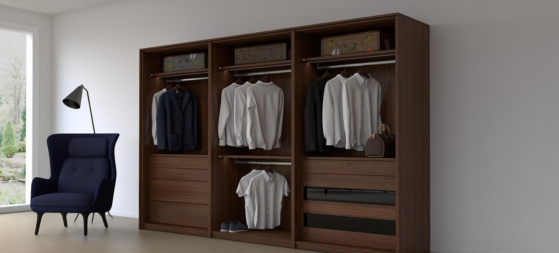 SEA Wardrobes cube walnut no doors