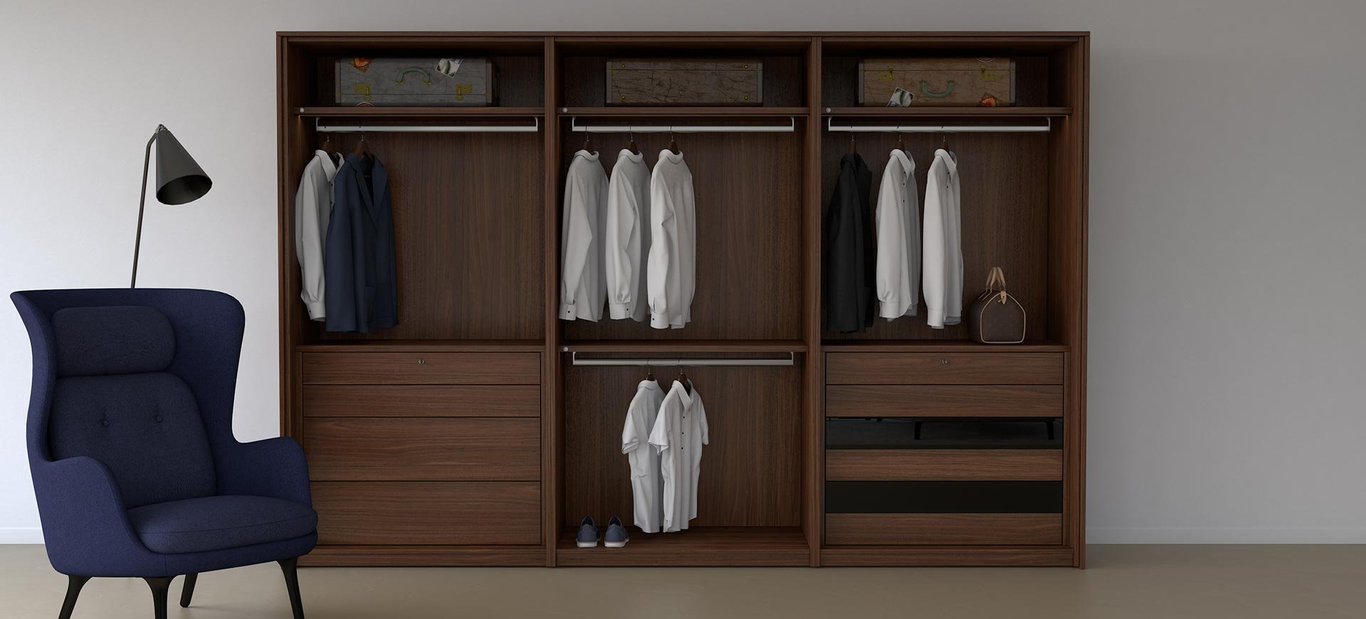 SEA Wardrobes cube walnut no doors front